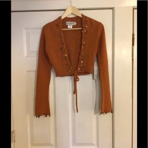 Sharon young XS NWT Arielle  rust knit half top.